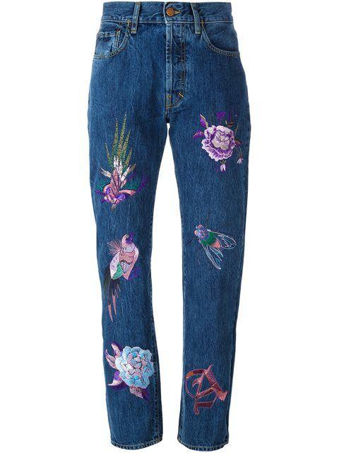Aries джинсы с завышенной талией и вышивками
