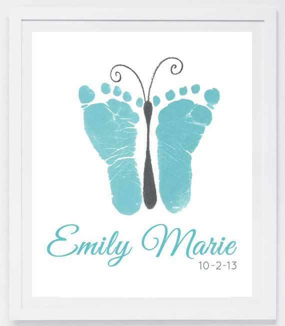 Baby Footprint Art Forever Prints hand and by MyForeverPrints, $25.00 by diybric.blogspot.com