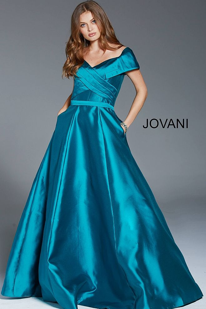 4cd49c84c522 Teal Off the Shoulder A-Line Evening Gown 61055 in 2019 | Mother of ...
