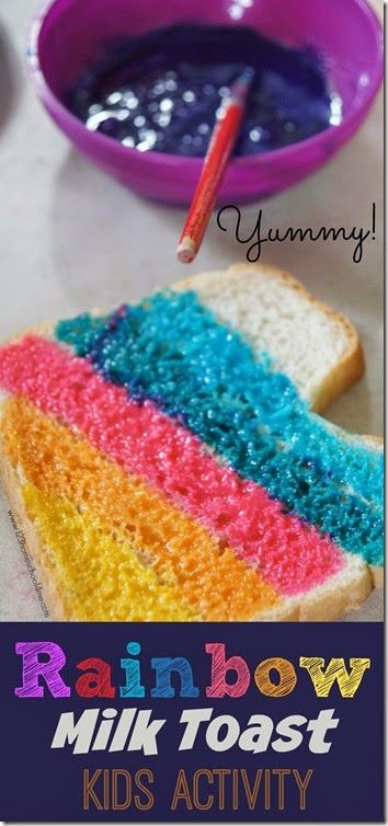Rainbow Milk Toast Kids Activities - this is such a fun snack for kids; perfect for march, St. Patrick's day, rainbow unit, weather unit, or just a fun day! Perfect for toddler, preschool, kindergarten, 1st grade, 2nd grade, and 3rd grade kids