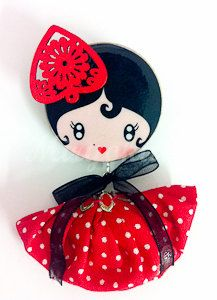 Flamenco Style wooden doll brooch by MiryokuHandMade on Etsy, €10.00