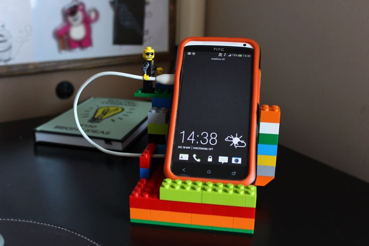 Lego mobile phone dock + minifigure charger holder.   Jaden made me the dock, not quite this cool tho!