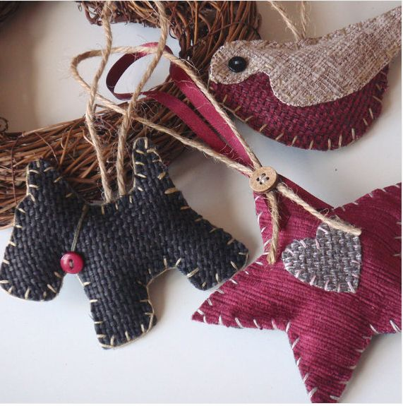 Fabric burlap Christmas crafts ornamanets