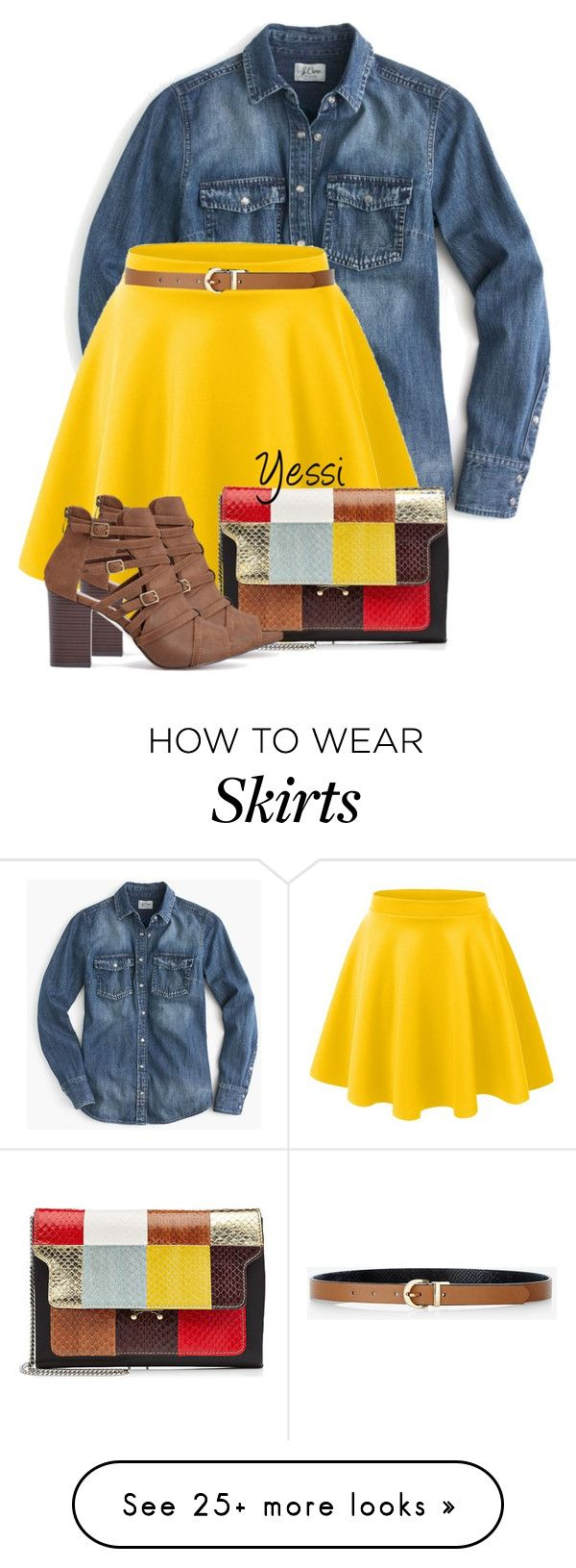 """~  Yellow Skirt  ~"" by pretty-fashion-designs on Polyvore featuring J.Crew, LE3NO, Express and Marni"