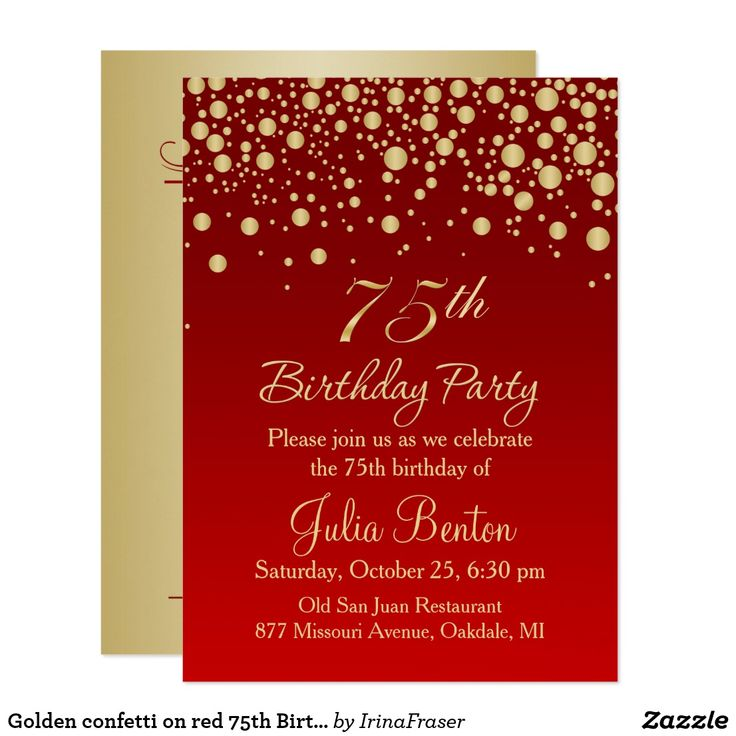 Golden confetti on red 75th Birthday Invitation Golden round confetti on red gradient background 75th Birthday Party Invitation Custom birthday party invitations / invites #invitations #invites #birthdayparty