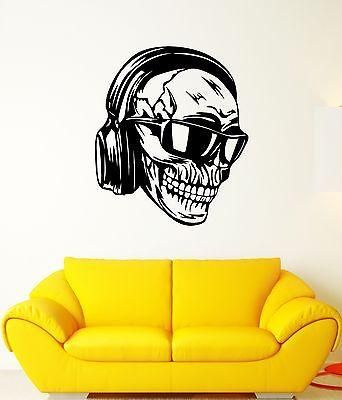 Wall Decal Skull Headphones Glasses Skeleton Music Art Vinyl Stickers Unique Gift (ed149)