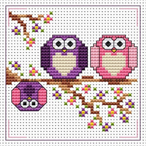 The Twitts card cross stitch kit kit by Fat Cat Cross Stitch.  Design 8.3cm x 8.3cm 14 count white Aida The kit contains fabric, stranded Anchor embroidery threads, needle, easy to follow instructions and chart, card and envelope.  A brand new kit will be sent directly to you by Fat Cat Cross Stitch - usually within 2-4 working days © Fat Cat Cross Stitch