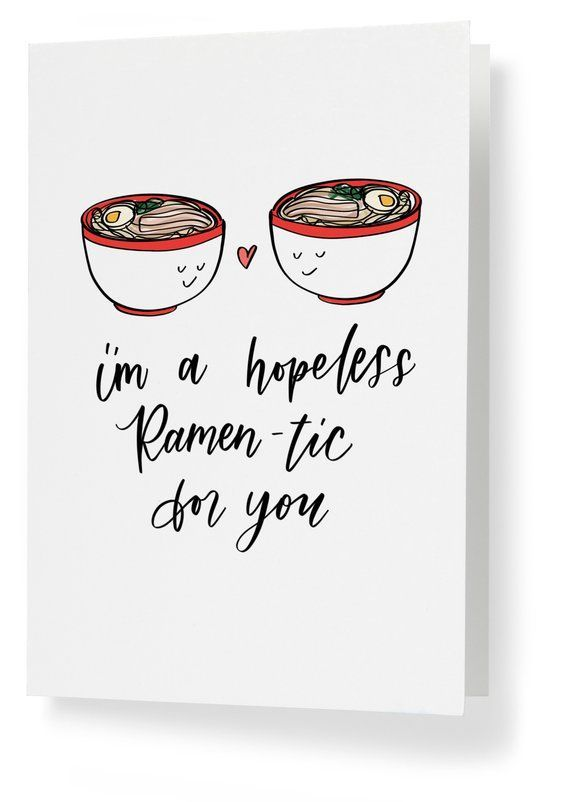Funny Love Letterpress Card Ramen Love With You Foodie Pun Valentine