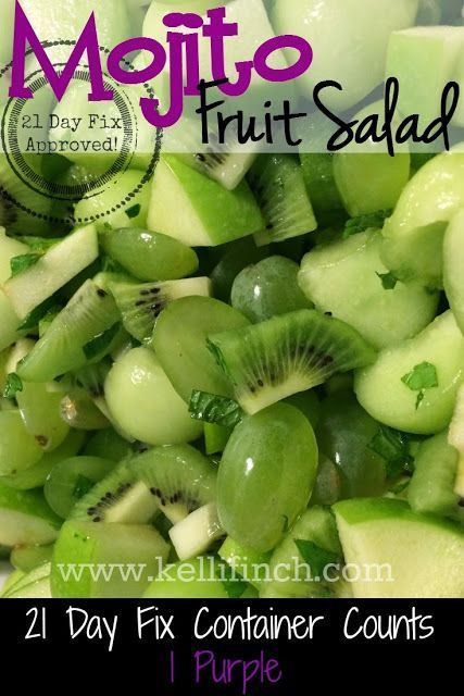 Fit Foodie Forever: Mojito Fruit Salad, This is soooo light fresh and yummy! Clean eating recipes, 21 Day Fix Recipes, Healthy Fruit Salad, Easy side dishes