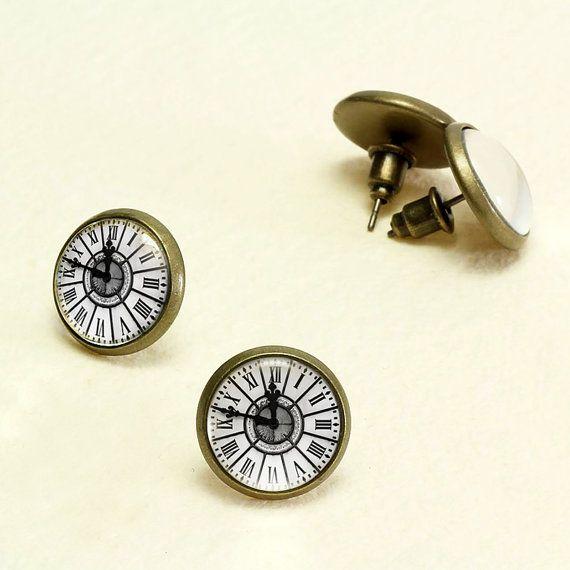 Clock Stud Earrings. Vintage Watch Earrings Studs. Glass Dome, Tiny Ear Studs. Nickel Free Studs Antique Bronze Earrings KSZ01R03K03B