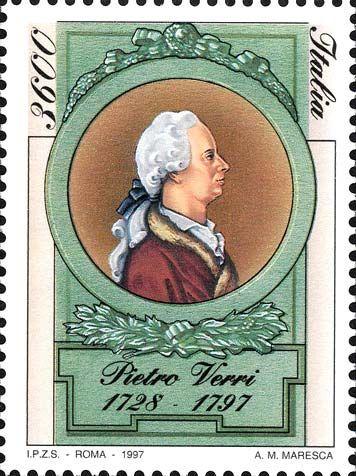 1997 - 2° centenario della morte di Pietro Verri (1728-1797) - entro una cornice in stile d'epoca ritratto di Pietro Verri, personalità eminente dell' illuminismo italiano