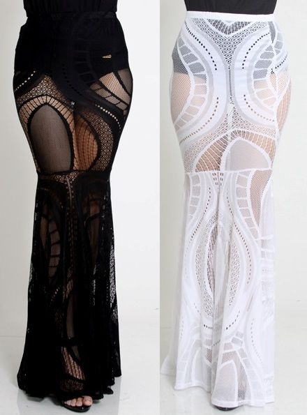 Details about SEXY BLACK WHITE CROCHET LACE HIGH WAIST BODYCON ...