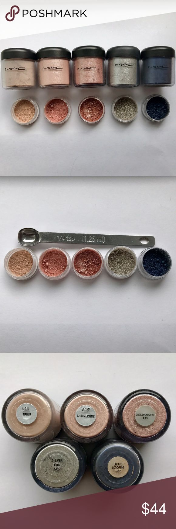 💎Rare MAC Sample Set Authentic 1/4 teaspoon This MAC Pigment Sample Set contains 1/4 teaspoon of each of the following pigments: Naked, Shimmertime, Goldenaire, Silver Fog, and Blue Sorm !This is a great way to try out Authentic Mac pigments without spending a fortune of them! Pigments come in 3g BPA Free jars, a label on bottom, and 1/4 teaspoon of each Pigment. LIMITED QUANTITY! SHIPS THE NEXT DAY💖 MAC Cosmetics Makeup Eyeshadow