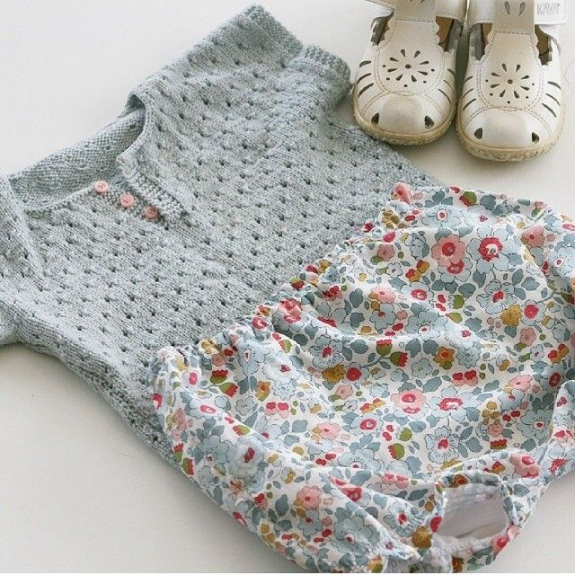 Knitted top, Liberty of London bloomers :: #estella #baby #fashion