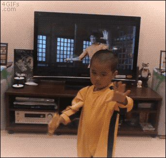 who did it better (... I think the kid won) - GIF