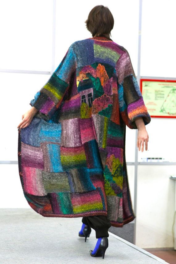 The coat of handmade in a collection DIARIES of GENIUSES which was shown on a Week of Haute Couture in Moscow in October, 2012. The coat has no size, it equally well looks on the girl of the size S and on the woman of the size plus. NORO yarn, as a part of which silk, cotton and hair of young lambs. In windows light (SWAROVSKY pastes) burns Is available