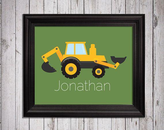 Baby boy tractor farm, farm bedroom Art, Kids Decor, Nursery Wall Art, Babies Art, Children print, construction print, truck print on Etsy, $8.00