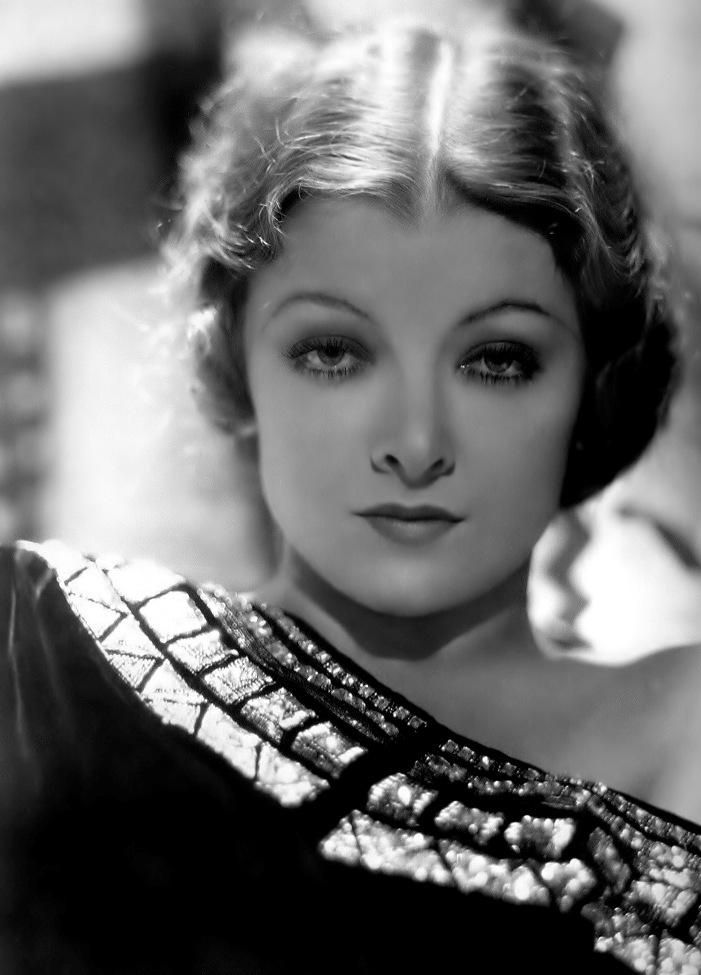 Myrna Loy by Hurrell - This epitomizes the Hurrell lighting.... overhead spots and haloing.