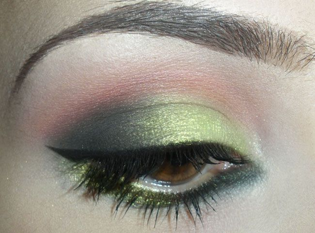 Lime green shadow on inner lid is Lucky Green from MAC. I just got this today and I am going to have to try this look.