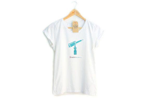 Genuine CURIOSITY t-shirt per donna, maniche arrotolate, bianca