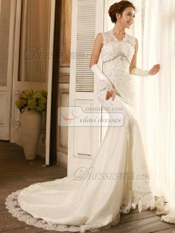 100% Maßgeschneiderte Elegant Spalte Lace V-Ausschnitt Kapelle Zug Brautkleider, Kostenloser Versand Preis: US $ 273,79 - VILAVI Kleider http://de.dresses123.com/elegant-column-lace-v-neck-chapel-train-wedding-dresses-p-62.html