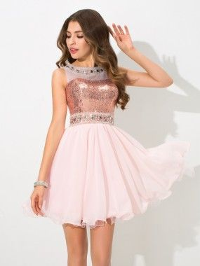A-Line/Princess Sheer Neck Sequin Sleeveless Short/Mini Chiffon Cocktail Dresses