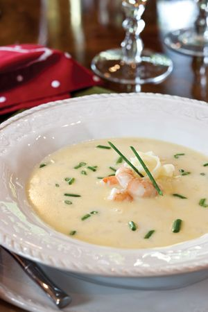 Shrimp and Champagne Bisque with Gruyère Cheese
