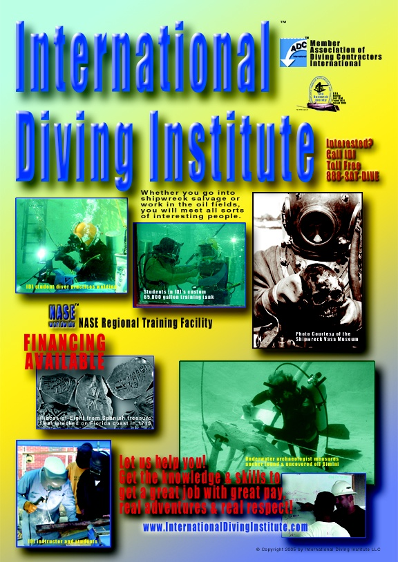 Poster for the International Diving Institute.