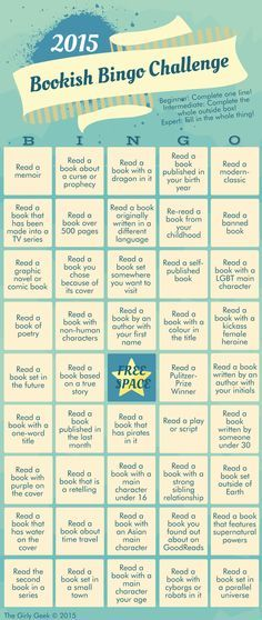 The Girly Geek Book Blog: The 2015 Bookish Bingo Challenge || I'M DOING THIS