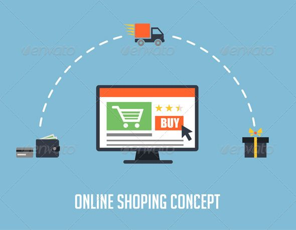 Flat Online Shopping Concept ...  business, cash, computer, concept, credit, delivery, design, digital, flat, icon, illustration, internet, marketing, media, money, online, process, retail, sale, search, ship, shipping, shopping, symbol, technology, vector, wallet, web, wholesale