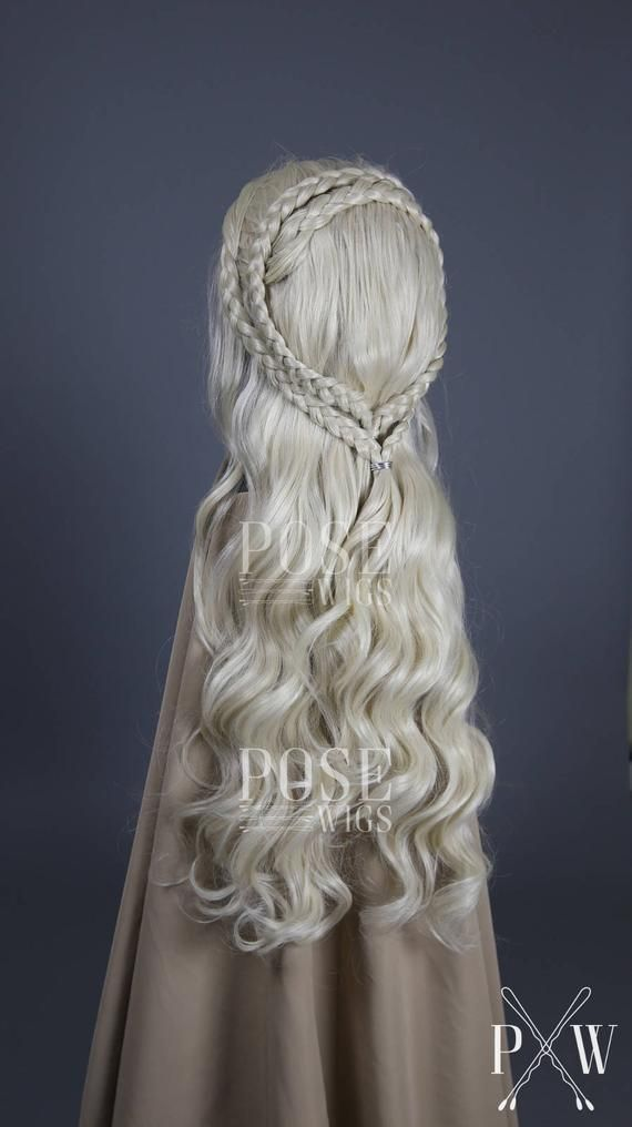 Daenerys Cosplay Wig / Meereen Season 6 7 Braids Game of Thrones Khaleesi Costume Custom Style White Blonde Lace Front Wig / Princess Series