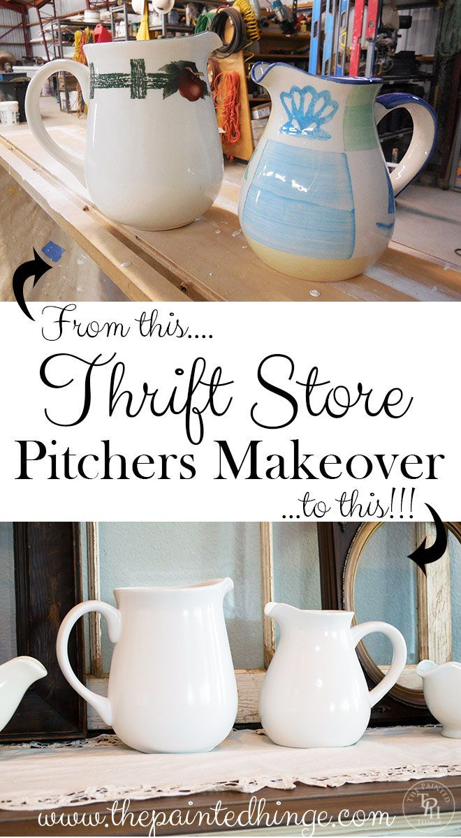 thrift store pitchers makeover the white tutorials and shops. Black Bedroom Furniture Sets. Home Design Ideas