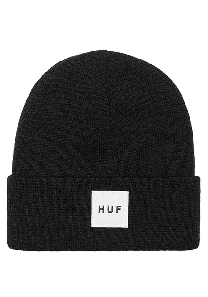 Huf Box Logo Black Cuffed Beanie