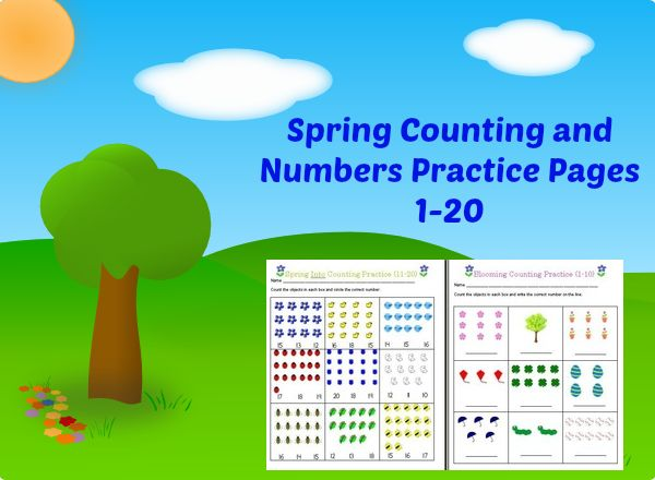 Spring Counting & Numbers Practice Pages 1-20