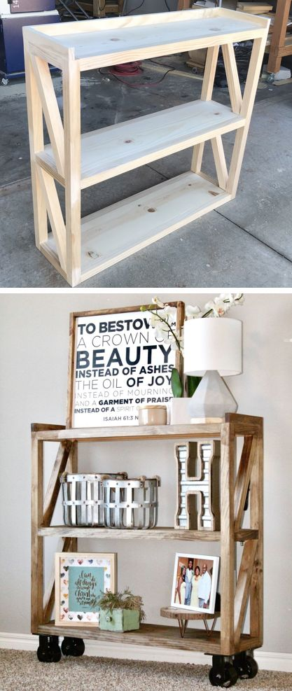Industrial Console Cart for the home entryway featuring caster wheels coated in ...