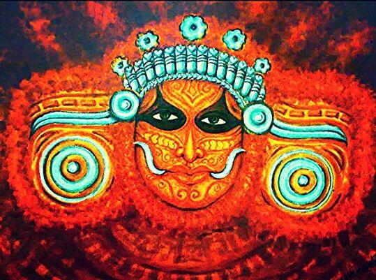 82 best theyyam images on pinterest kerala the dance for Asha mural painting guruvayur