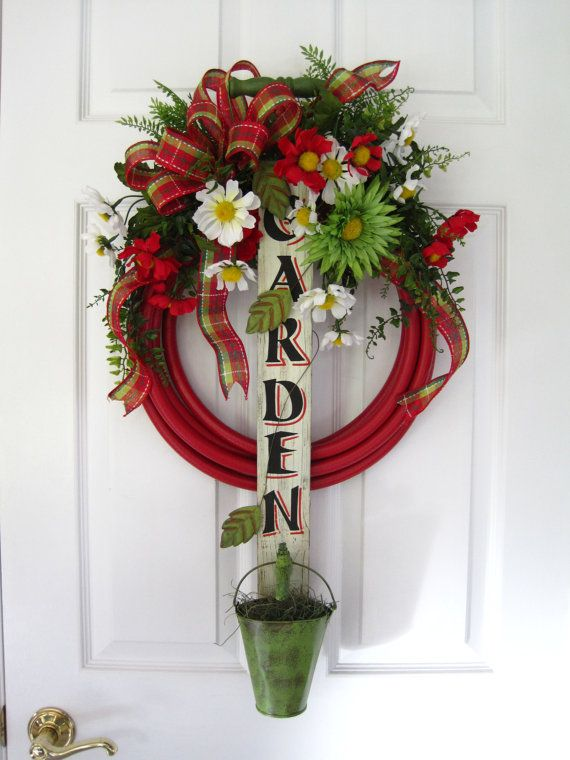 RED GARDEN HOSE Wreath- Spring Summer Wood Garden Sign Faucet Bucket Free Shipping. $90.00, via Etsy.