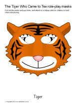 The Tiger Who Came to Tea role-play masks
