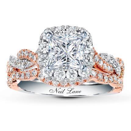 NEIL LANE BRIDAL SETTING 7/8 CT TW DIAMONDS 14K TWO-TONE GOLD