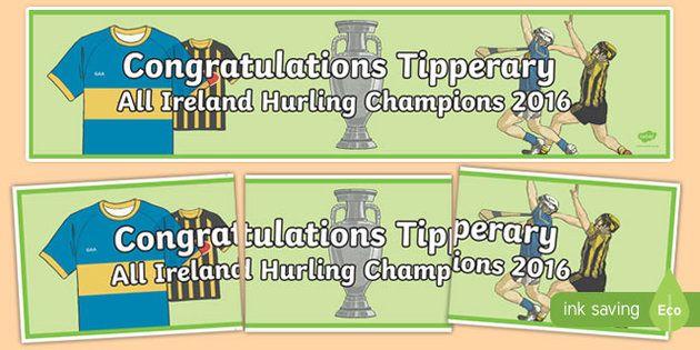 Congratulations Tipperary All Ireland Hurling Display Banner-Irish