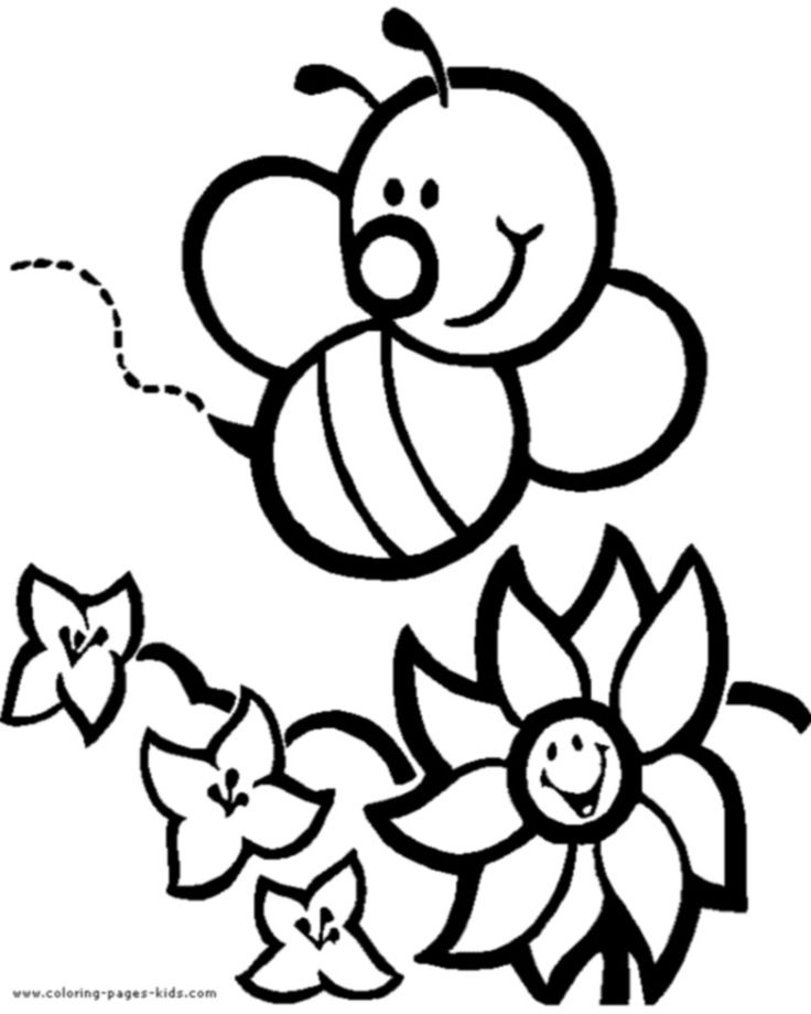 Bee With Flowers Color Page Coloring Pages For Kids Animal Thousands Of Free Printable