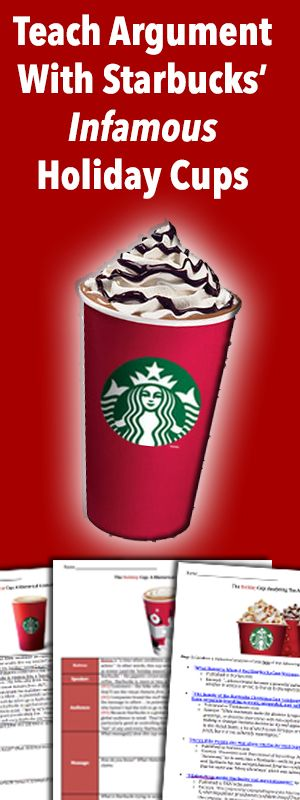 Loads of awesome resources for teaching argument on this site. Grab the 'Holiday Cups' lesson materials now -- for free!!
