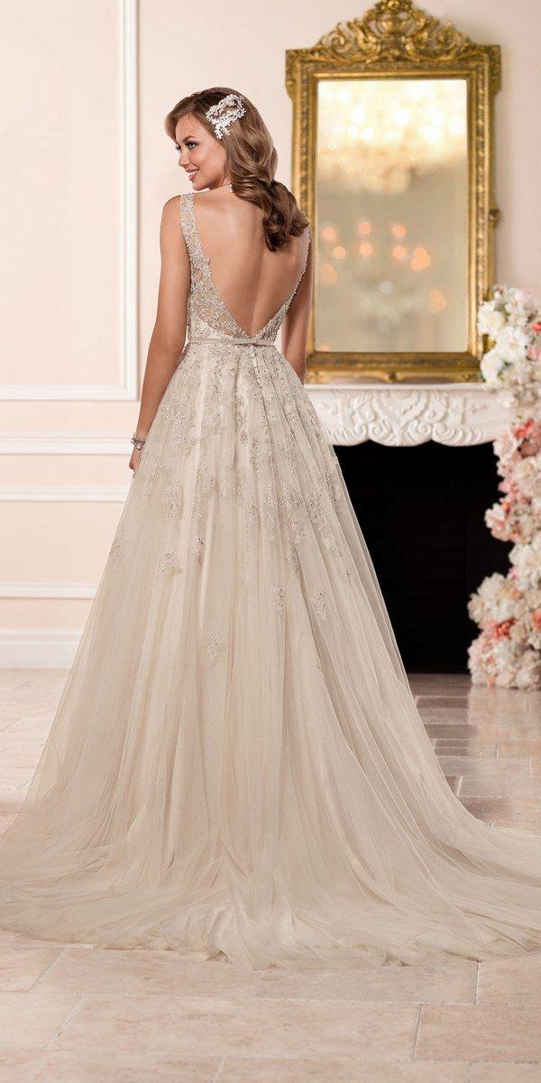 Stella York A-line Wedding Dress with Plunging Neckline style 6291 c / http://www.deerpearlflowers.com/stella-york-fall-2016-wedding-dresses/2/