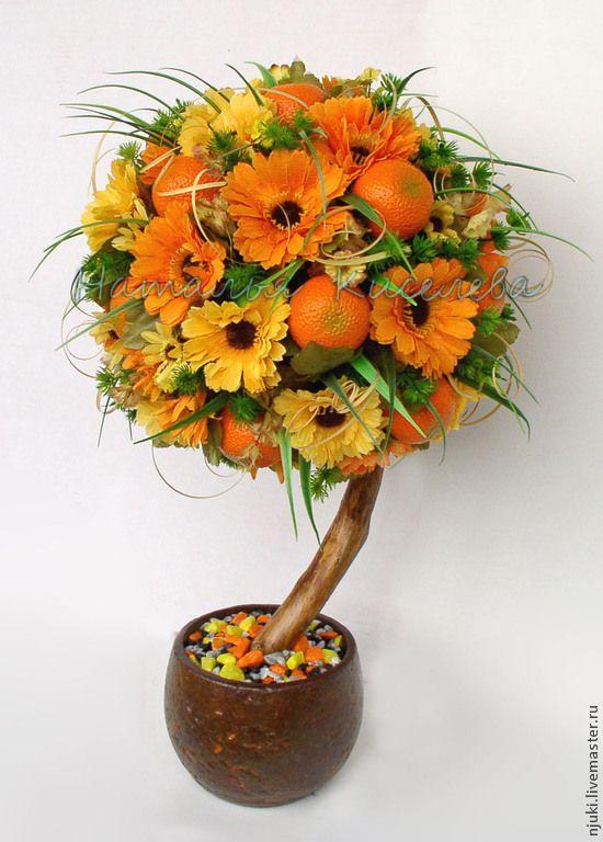 Топиарий Мандариновый - топиарий,Дерево счастья,мандариновое дерево,мандарин
