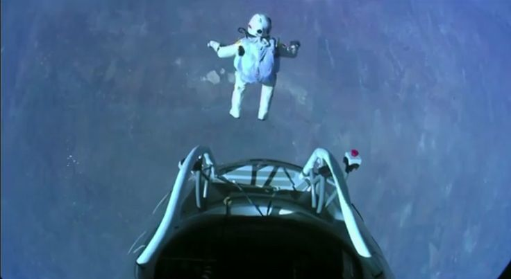 Skydiver Felix Baumgartner made the highest skydive ever Oct. 14, 2012. He jumped from 128,000 feet (39,000 meters), or about 24 miles up, during the Red Bull Stratos mission.