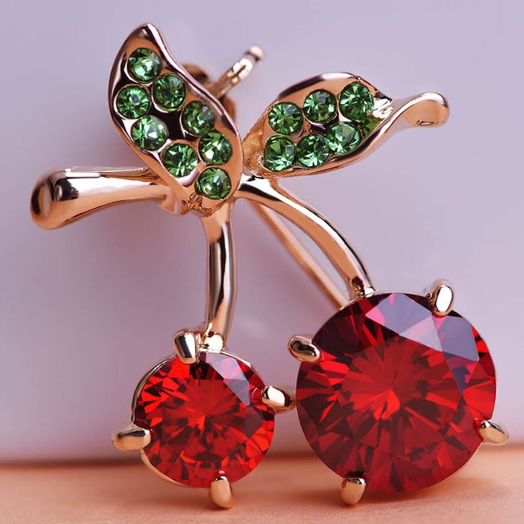 Madrry Wholesale Red Cherry Brooches Pins Up CZ Zircon&Crystals Scarf Pins for Women Girlfriend Brohes Broach