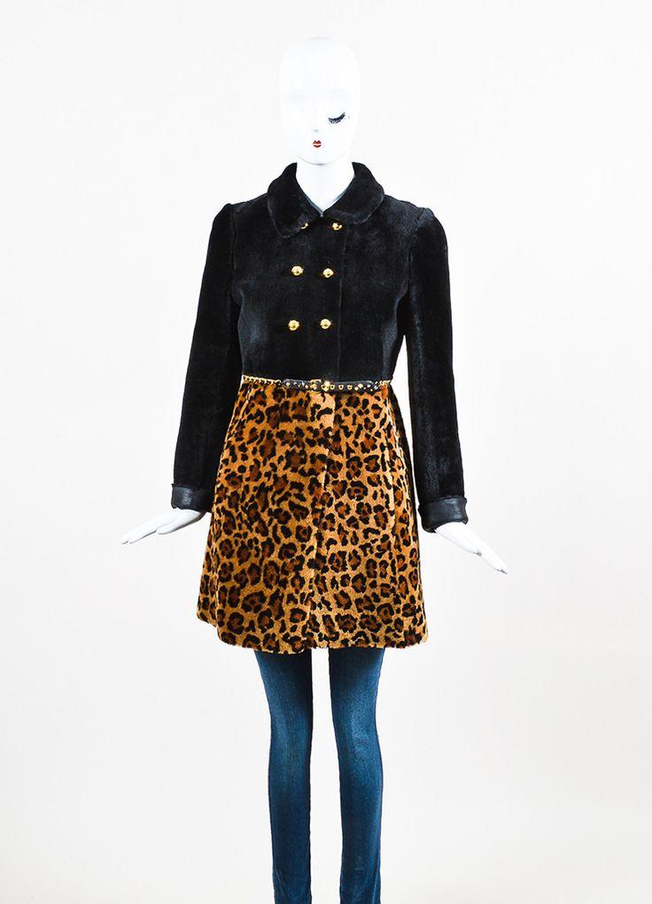 Miu Miu Black and Brown Leopard Print Shearling Double Breasted Coat