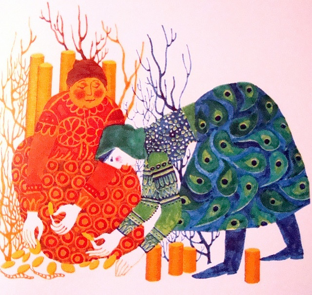 """from """"the prince and his magic horse: hungarian folktales"""", illustrated by gabriella hajnal and published by athenaeum printing house, budapest, 1975"""