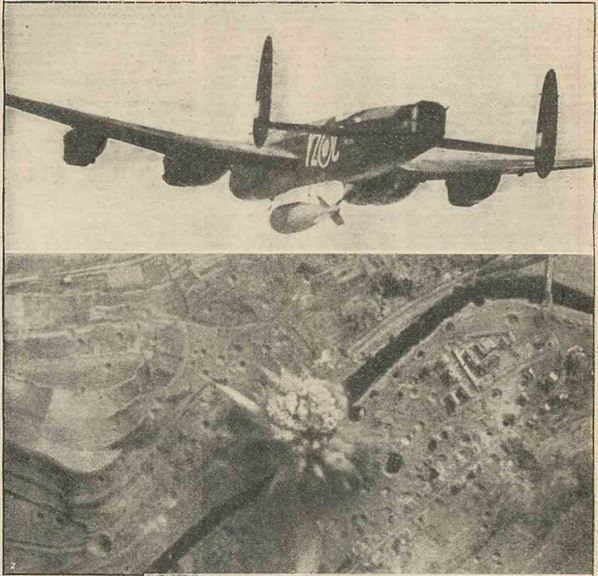 """The 22,000lb Bomb of the RAF lives up to its nickname """"Grand Slam"""". The picture shows one leaving on a #WW2 #Lancaster bomber during an attack on the famous viaduct at Arnsberg, south east of Hamm, on March 29th, 1945, and another picture showing the bomb exploding on the target."""