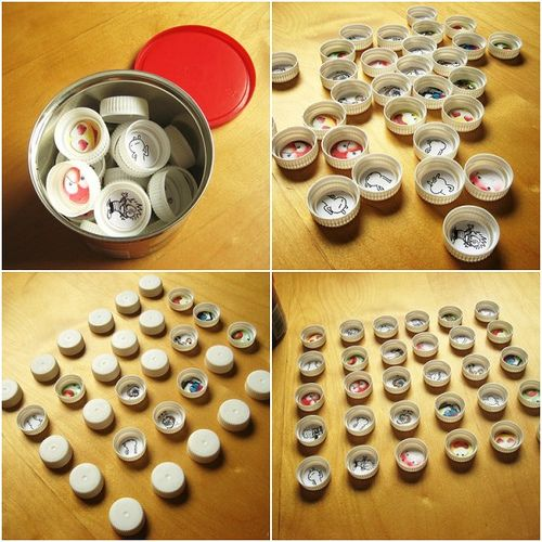Bottle cap memory game...love this! would be great using the images from slide and poster catalogs...